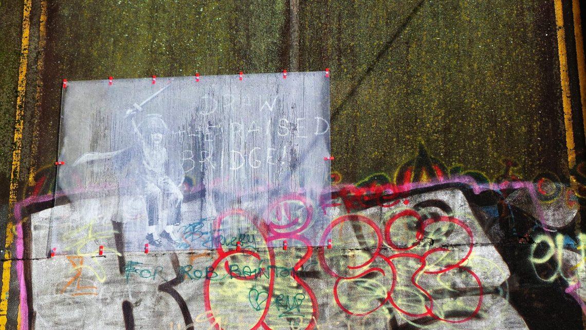 The Hull Banksy on the Scott Street Bridge