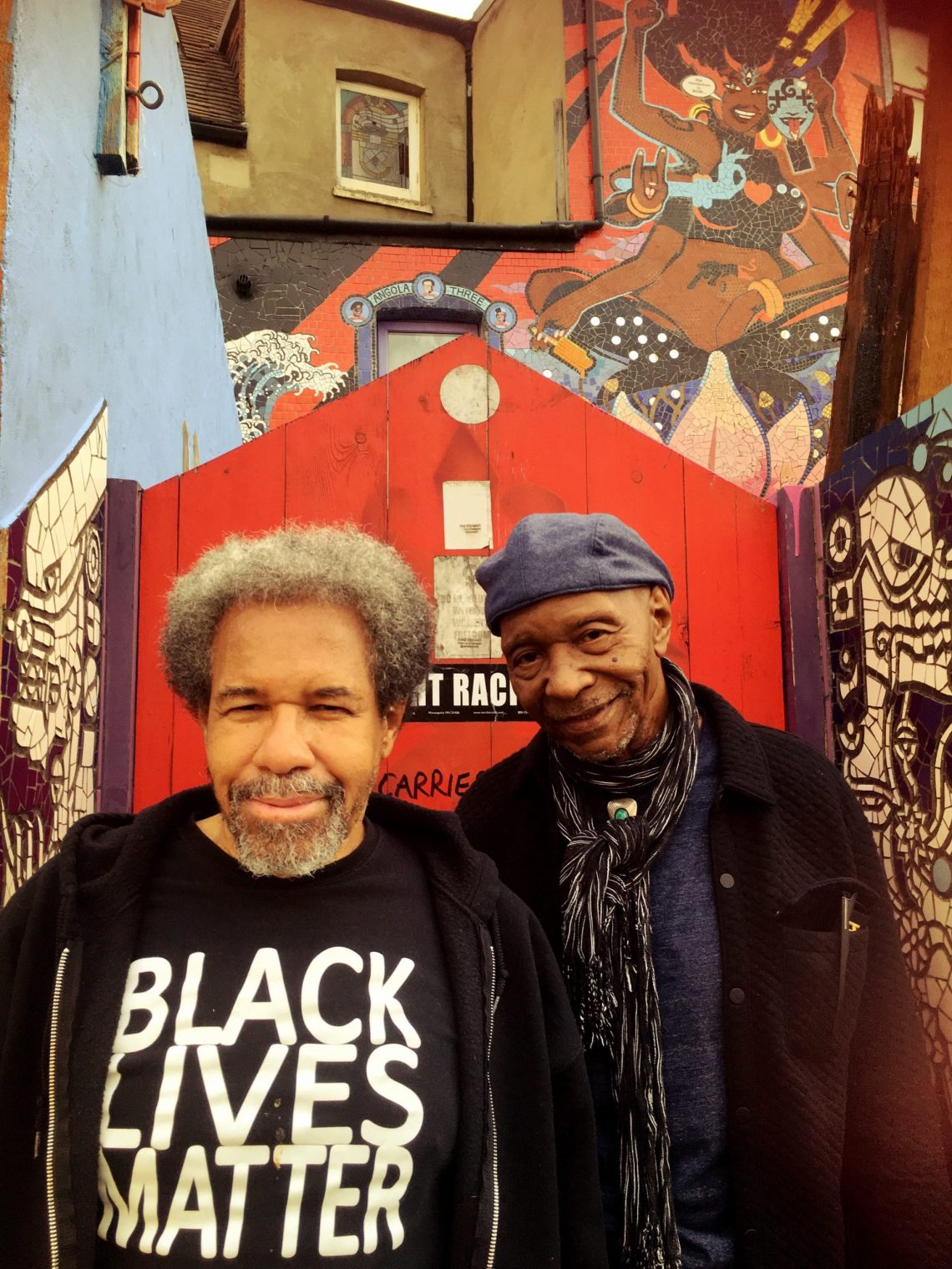 Albert Woodfox and Robert King two of the Angola 3 outside Carrie Reichardt's mosaic house