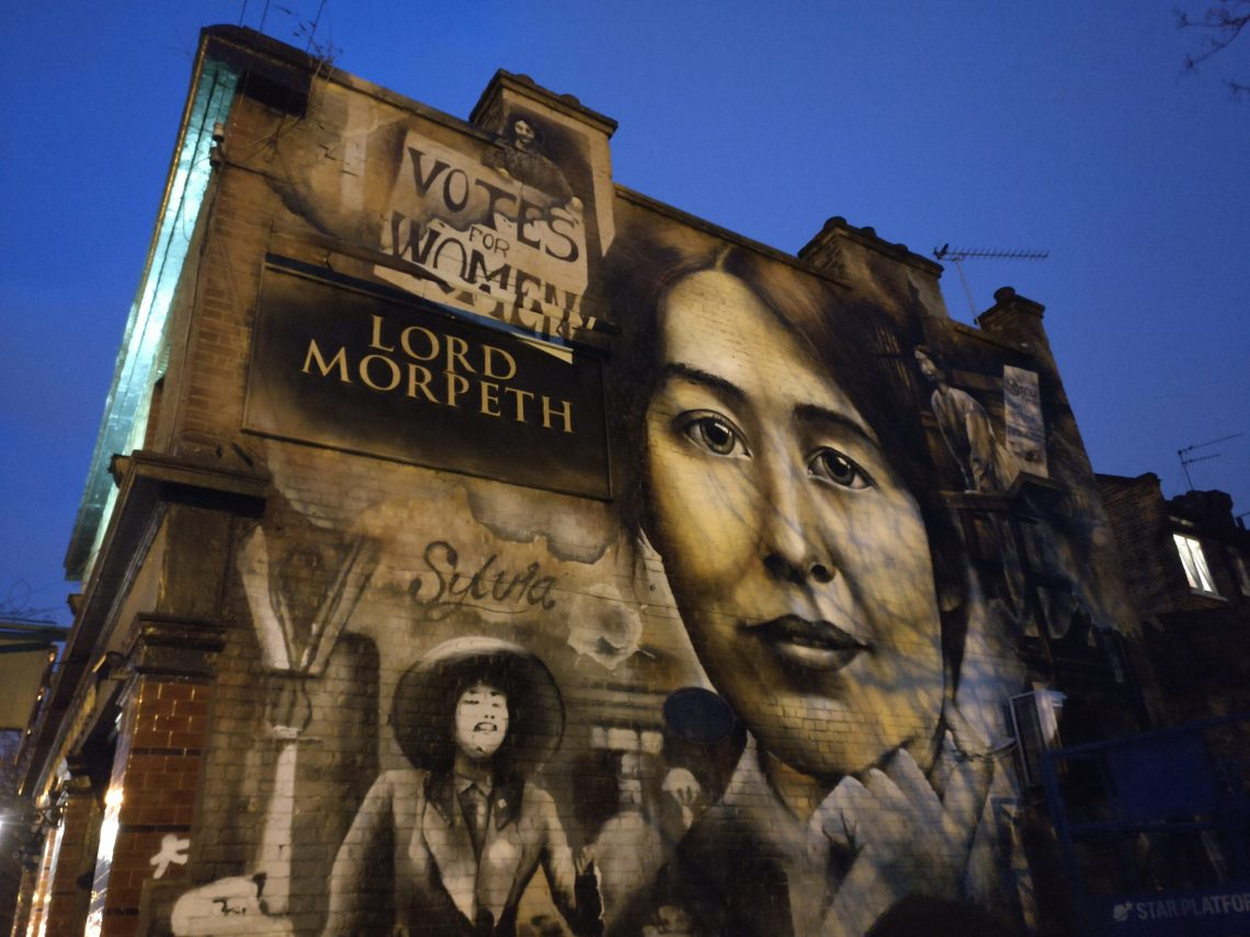 The suffragette mural of Sylvia Pankhurst on the Lord Morpeth pub in Bow
