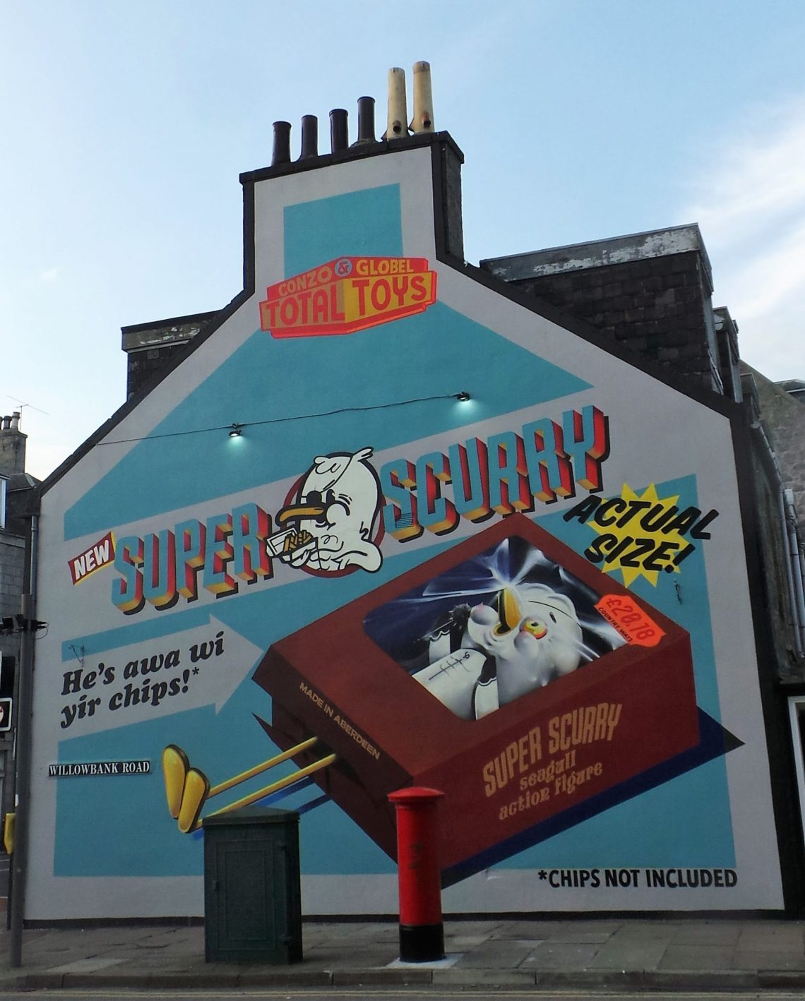 Super Scurry mural by Conzo & Globel for Nuart Aberdeen 2018