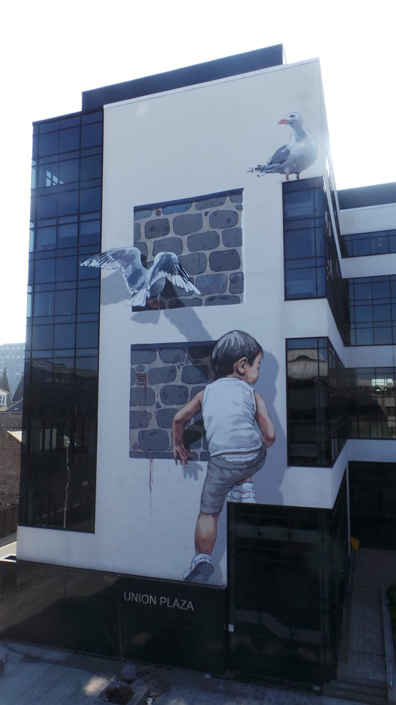 Ernest Zacharevic mural created for Nuart Aberdeen in 2018