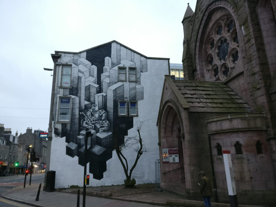 phlegm artwork created for Nuart Aberdeen 2018