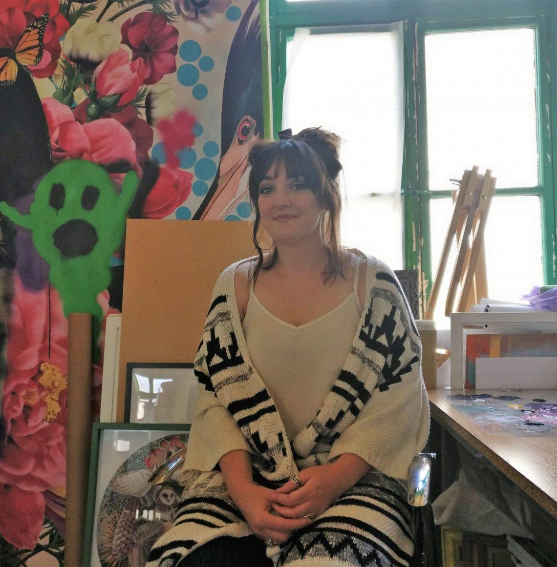 Artist Alexandra Gallagher in her studio in Blackburn