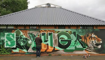 Sky High painting at the Pittville Pavilion