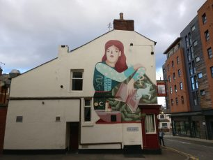 Work from Frau Isa on the Red Deer Pub on Pitt Lane