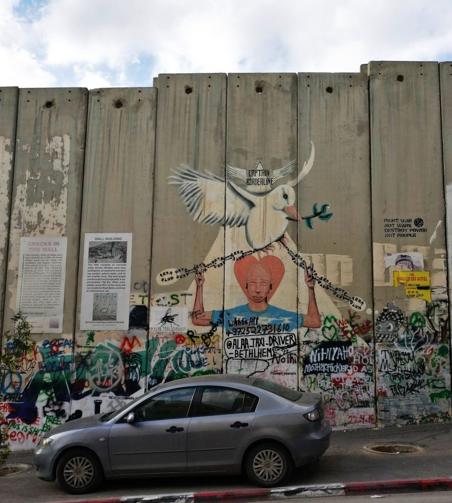 Graffiti art on the West Bank Barrier. This is next to the Walled Off Hotel in Bethlehem
