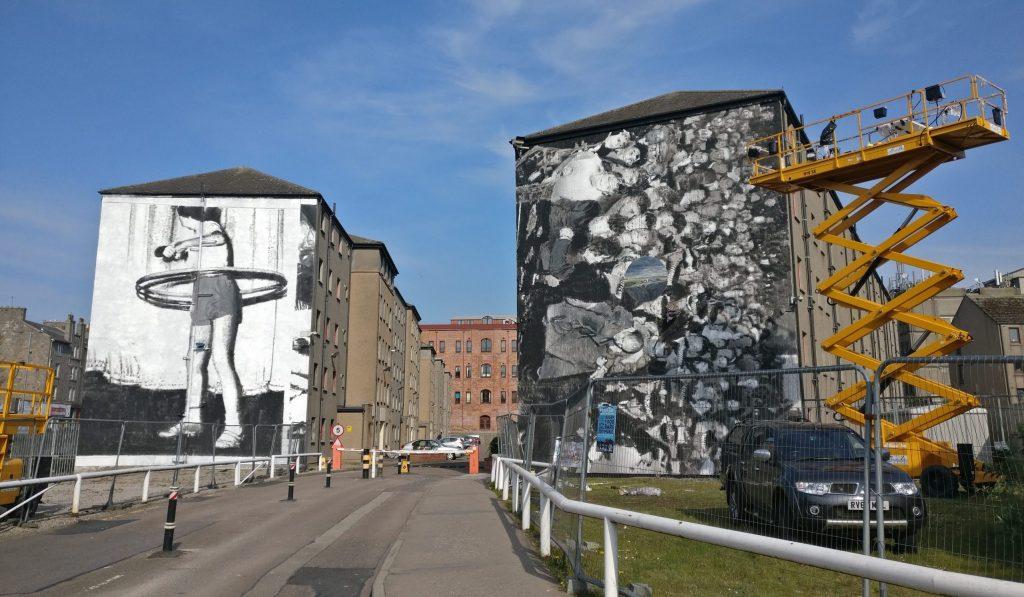 Axel Void murals at Woolmanhill Flats for Nuart Aberdeen in 2019