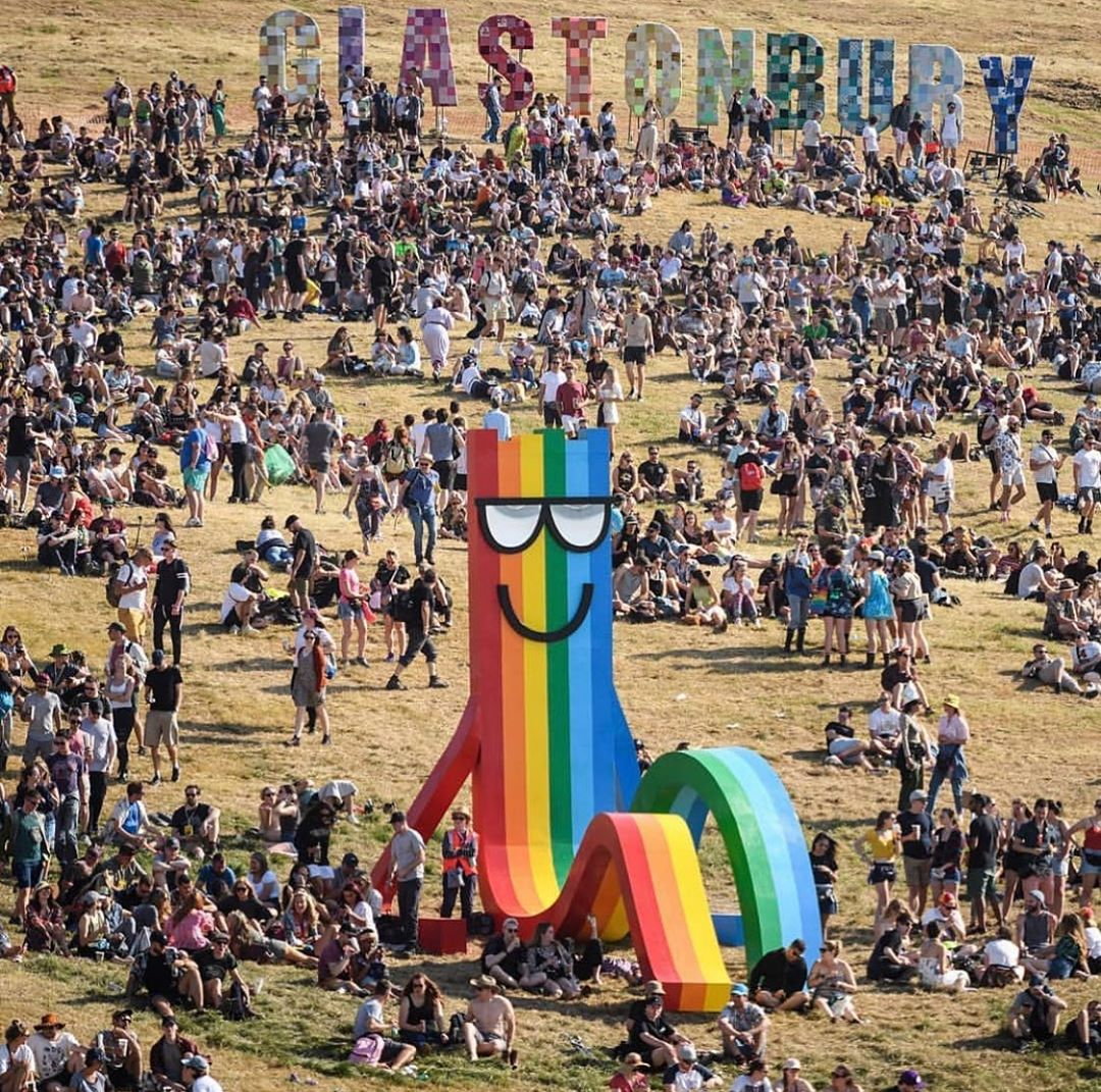 Rainbow deckchair by Paul Insect at Glastonbury 2019