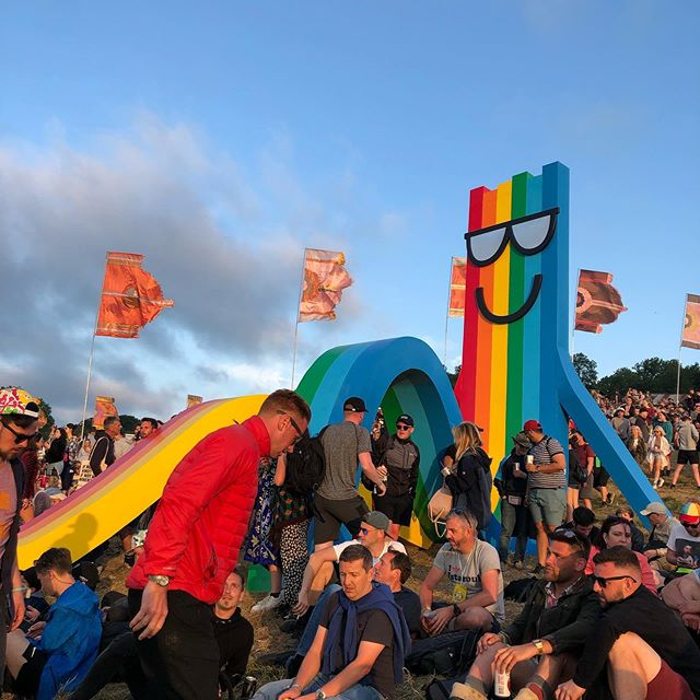 Rainbow deckchair by Paul Insect at Glastonbury