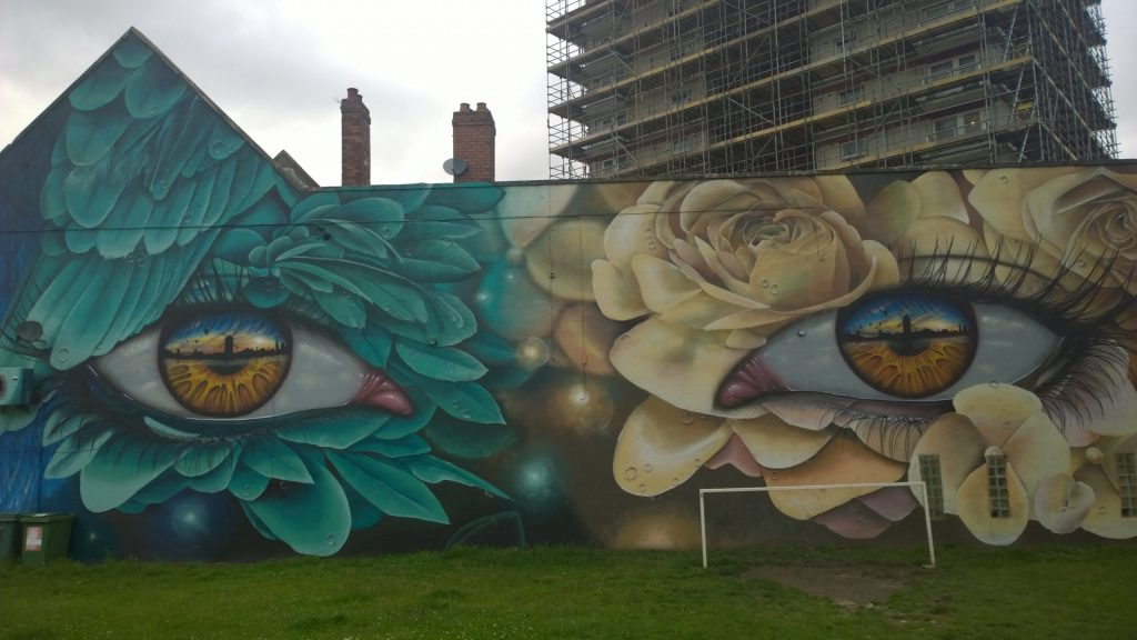 Mural on Windmill Hill by My Dog Sighs and Curtis Hylton part of the Upfest Summer Editions