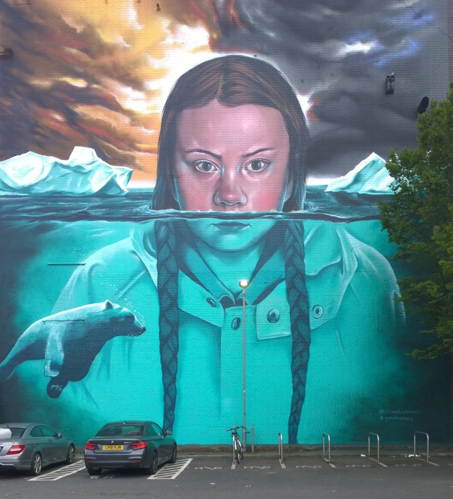 Greta Thunberg mural by Jody in Bristol. Part of the Upfest Summer Editions