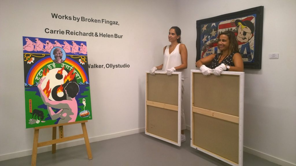 Paintings by Deso from the Broken Fingaz crew being revealed at the Alchemy exhibition in the Saatchi Gallery