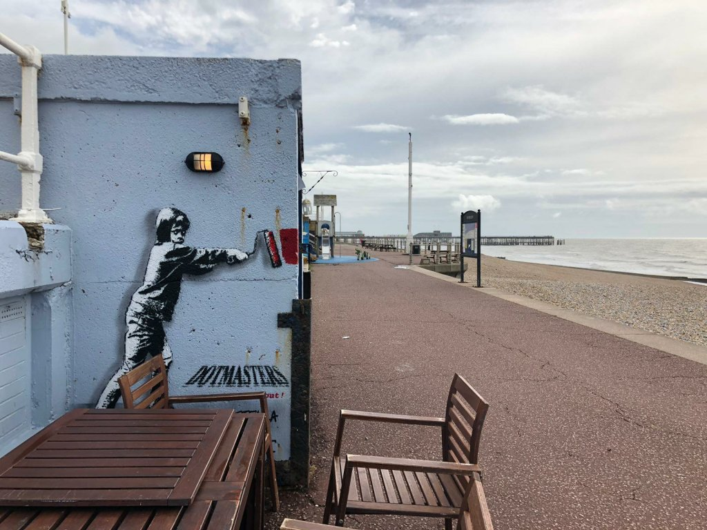 Dotmasters painting on the St Leonards shorefront