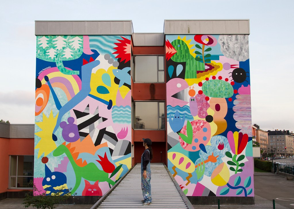 Mural by Mina Hamada at the Parees Festival in Oviedo