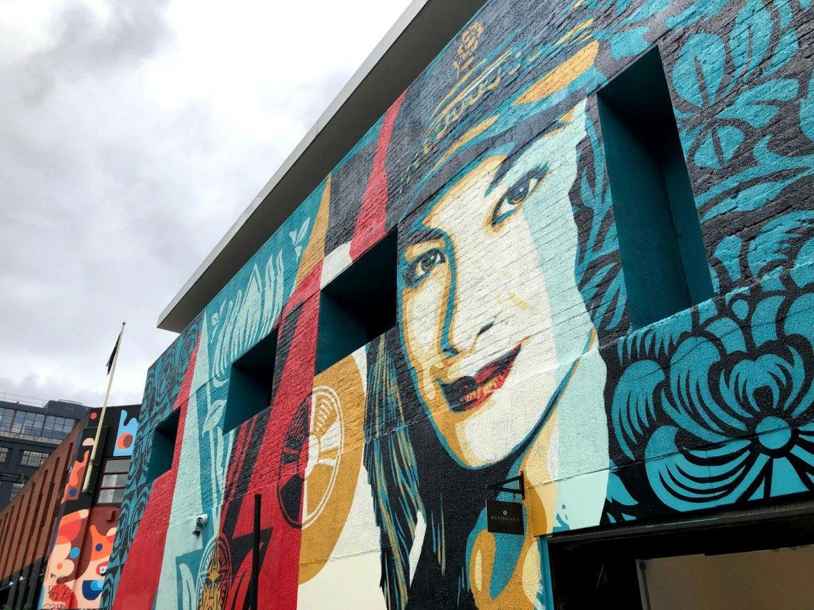 street art by shepard fairey on whitby street in London
