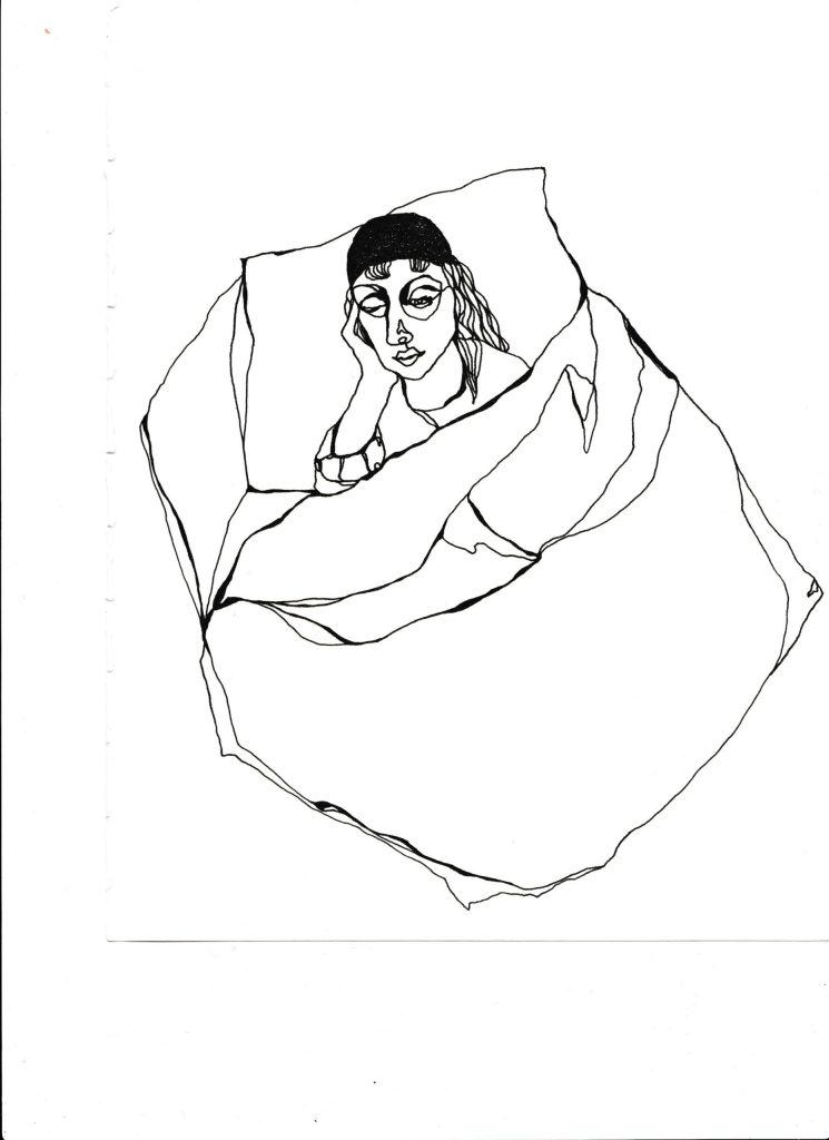 Fuck the world I'm Tired. A single line black and white drawing by Cosima Bellamacina