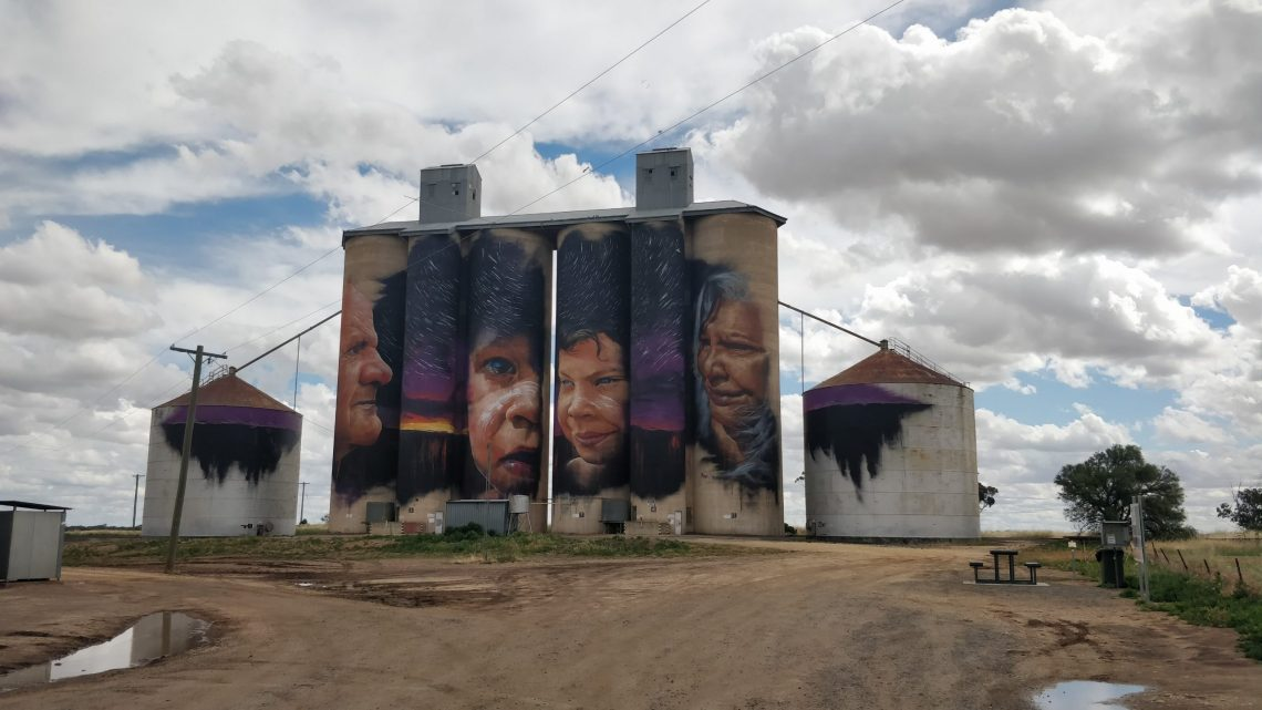 Giant grain silo mural in Sheep Hills painted by Adnate on the Wimmera Mallee Silo  Art Trail