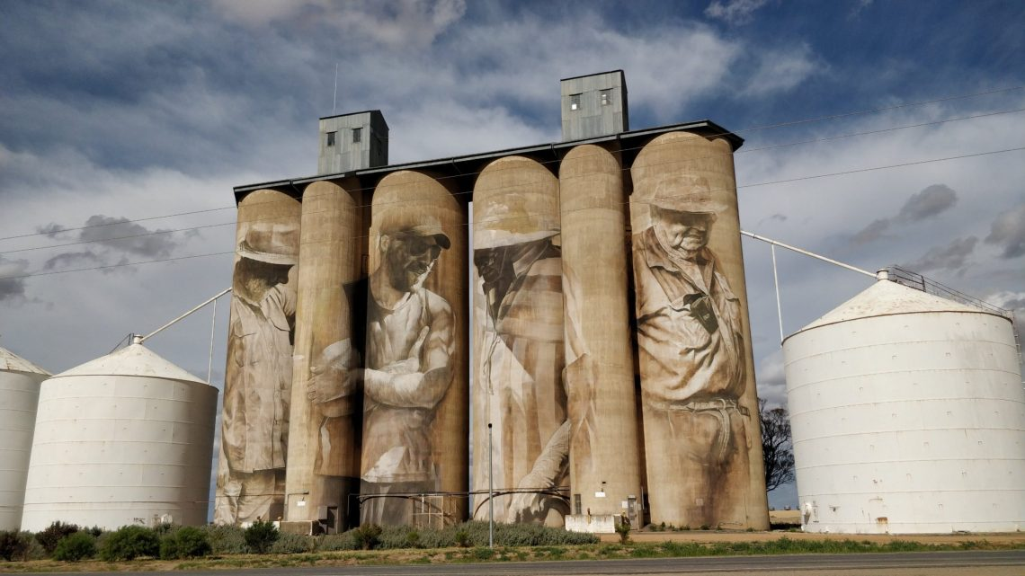 Silo Art Trail mural by Guido van Helten in Brim, Australia