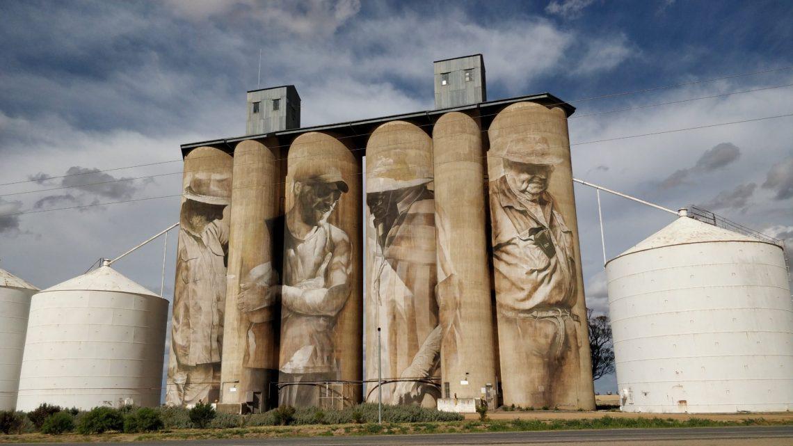 Silo Art Trail mural by Guido van Helten in Brim, Australia