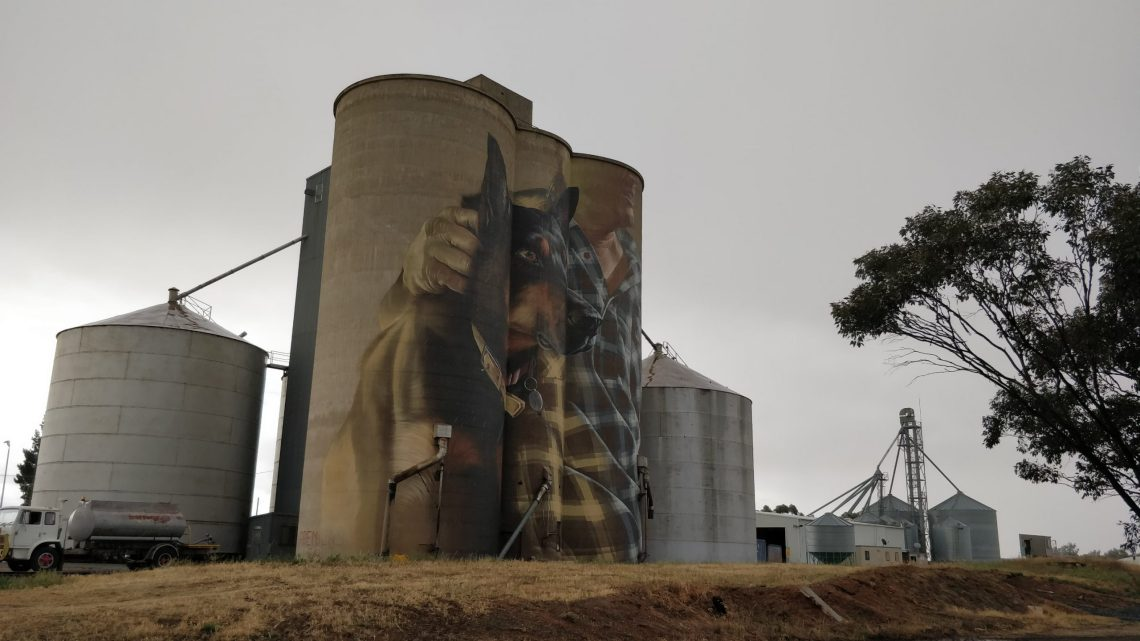 The Silo Art Mural in Nullawil, Australia. Painted by Smug