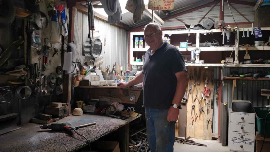 Phil Rigg the corrugated iron artist in his workshop in Australia
