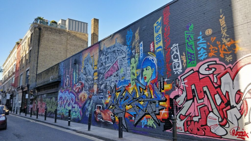 Graffiti on Hanbury Street looking towards Brick Lane