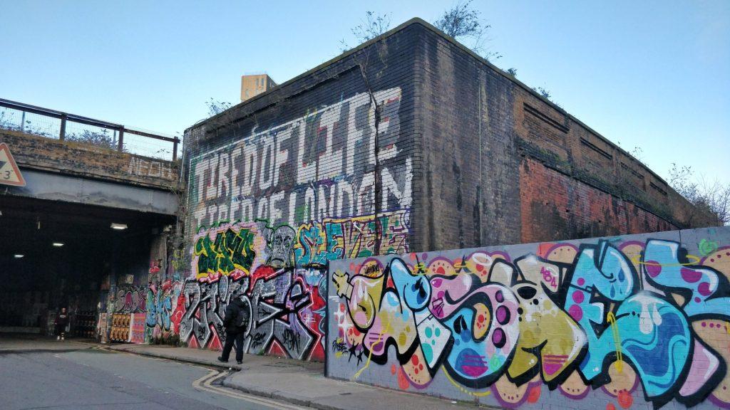 Graffiti on Braithwaite Street in Shoreditch
