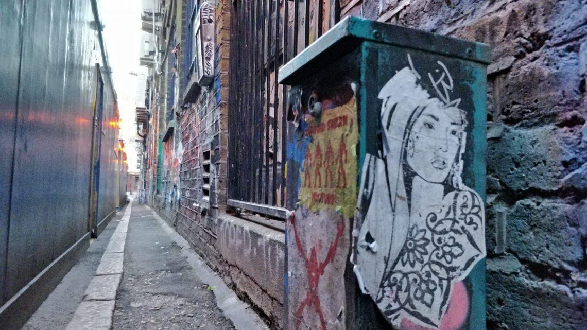 Street art and graffiti on Blackall Street in Shoreditch