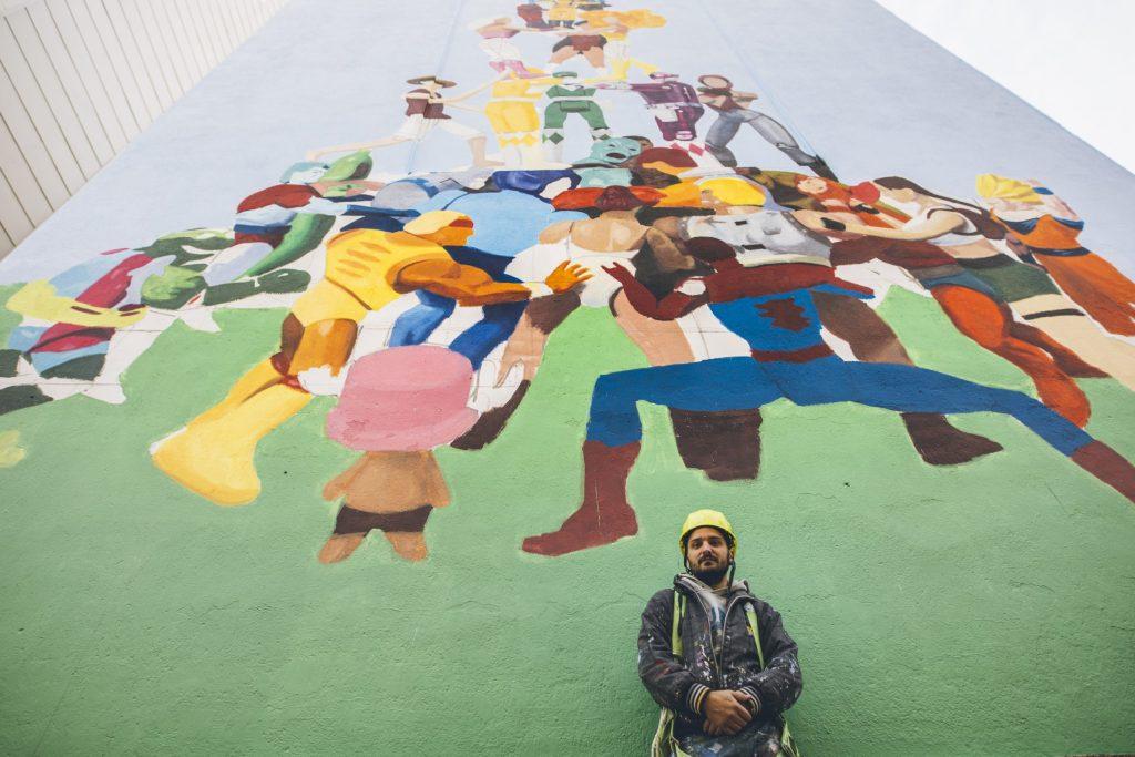 Yoseba MP by his wall in Barcelona.