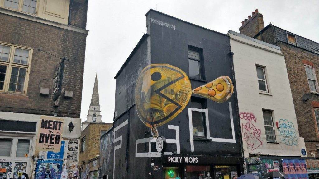 Pac Man Pizza mural by Fanakapan on Brick Lane