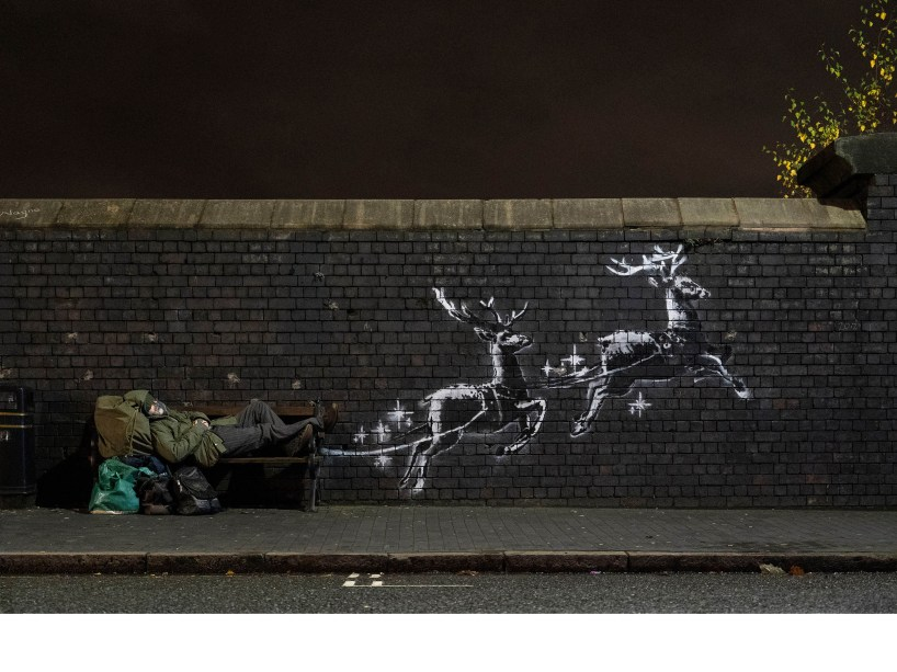 Banksy street art in Birmingham, UK