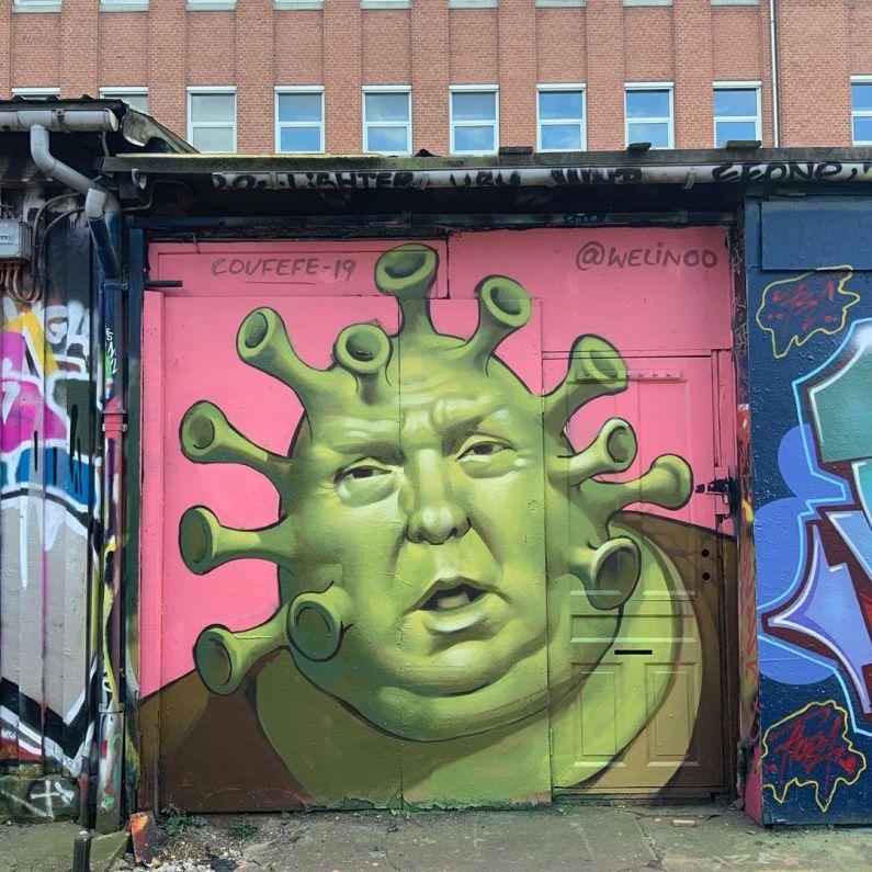 Donald Trump depicted as the Coronavirus. Street art by Andreas Welin