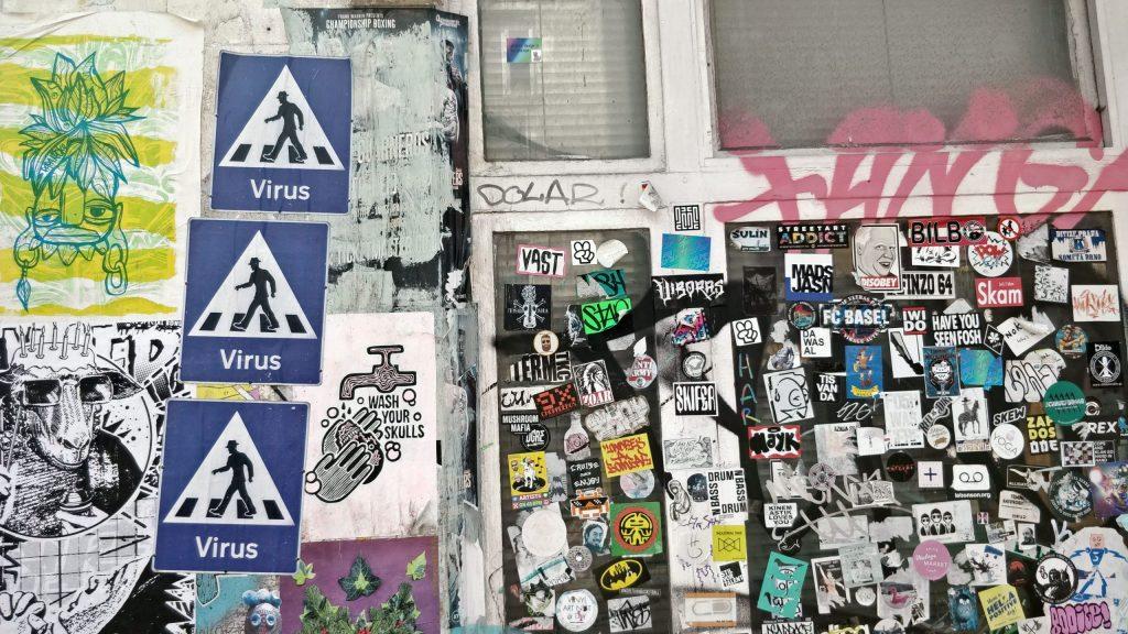 Coronavirus street art by Dr.D, Virus crossing