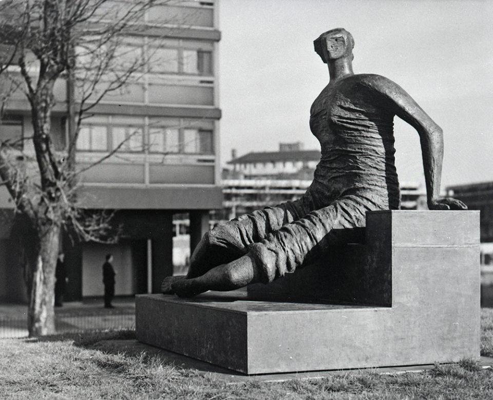 Draped Seated Woman by Henry Moore in location at Stepney Green