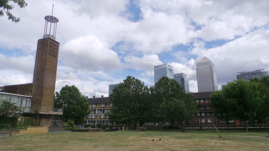 A view of Trinty Gardens looking towards Canary Wharf. This is where the Dockers statue by Sydney Harpley once stood