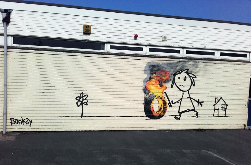 Girl with a Stick street art by Banksy at Bridge Farm Primary School