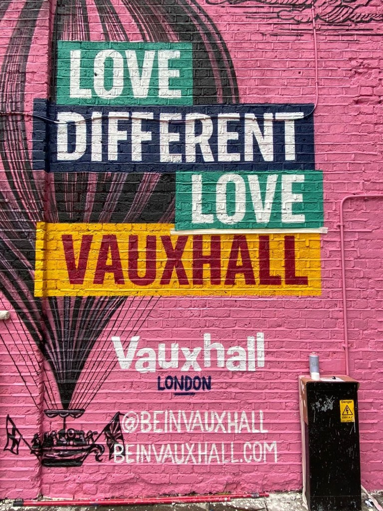 Love Different Love Vauxhall a mural featuring a balloon by Nerone
