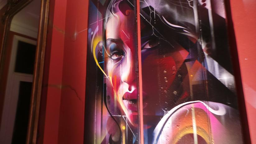 Mr Cenz art at the disconnect exhibition in London