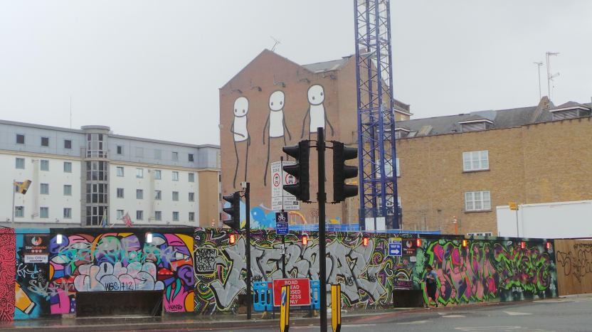 Giant Stik mural overlooking the former Foundry yard