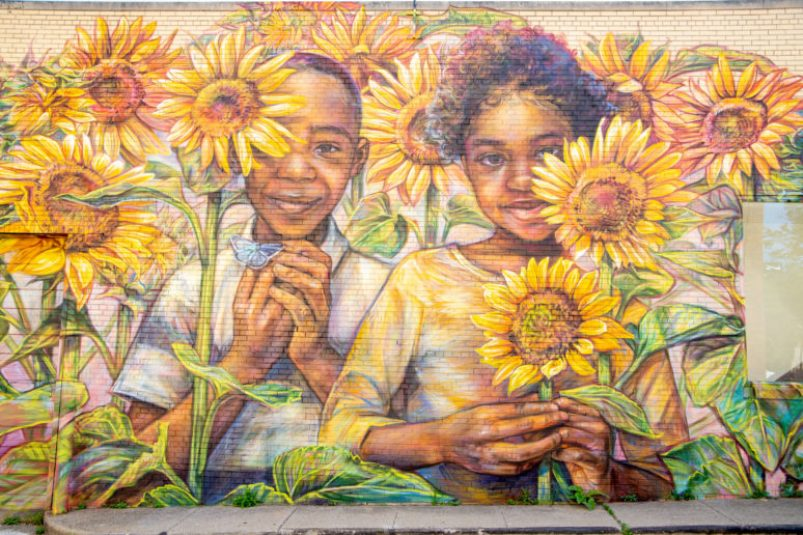 Emily Ding mural in Flint for the Flint Public art project