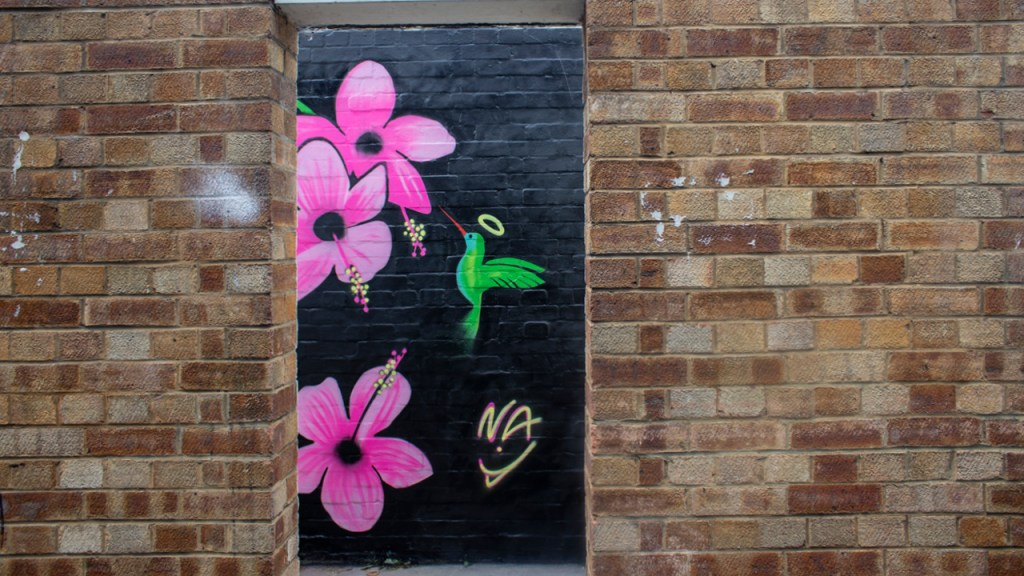 street art by Natasha Awuku featuring flowers and hummingbirds