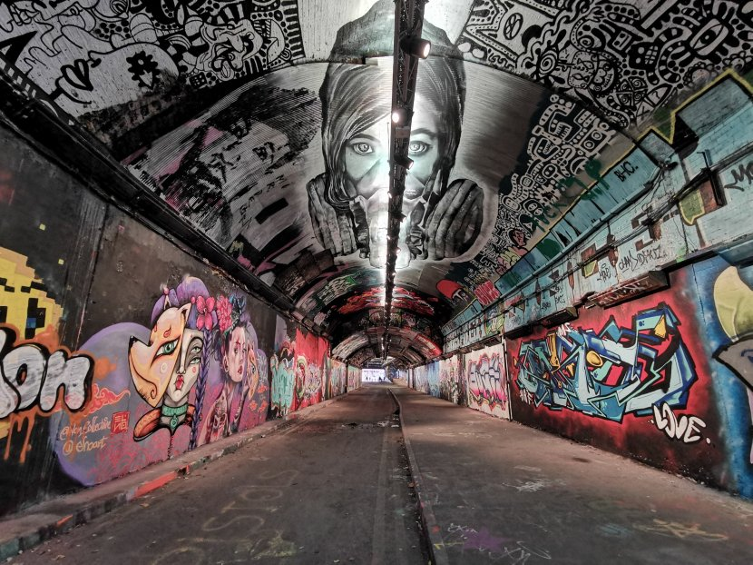 The graffiti tunnel in the leake street arches