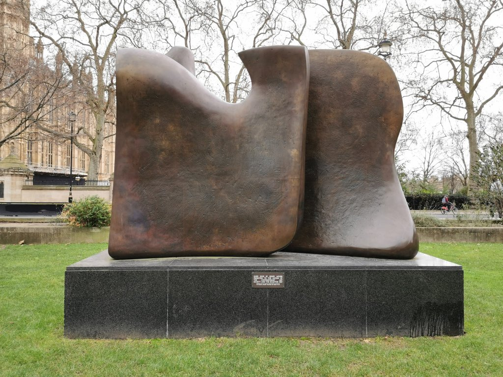 Knife Edge sculpture by Henry Moore on College Green in London