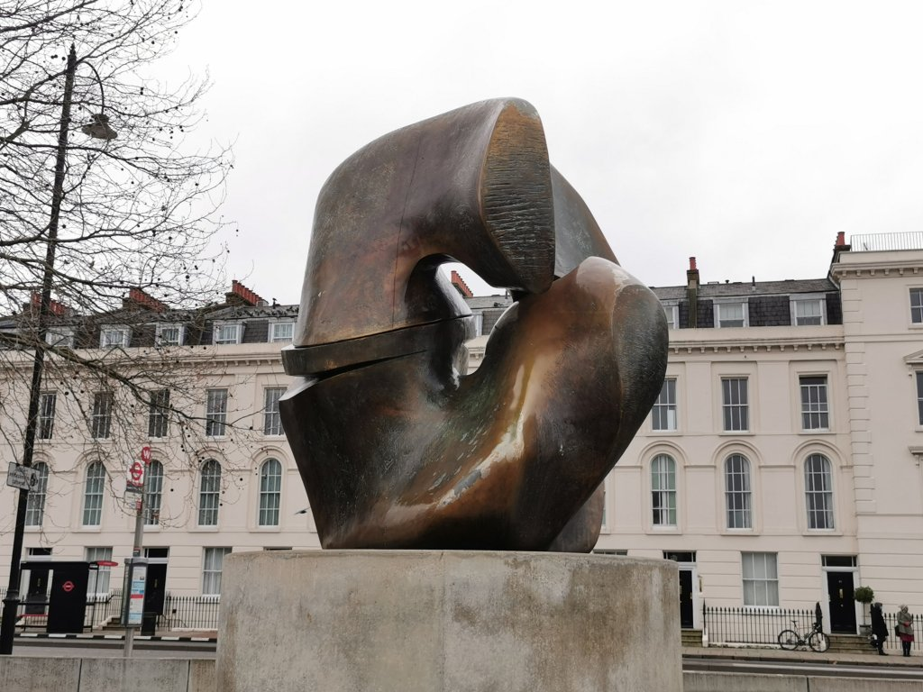 Close up of Locking Piece by Henry Moore on Millbank in London