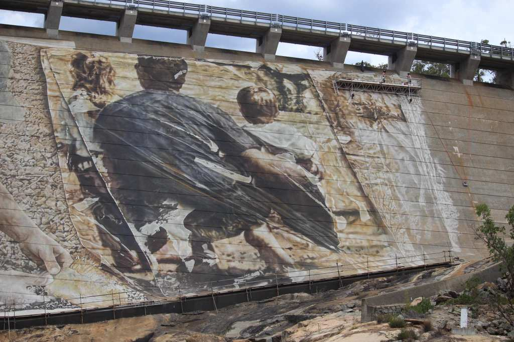 A family scene painted onto the Wellington Dam in Collie