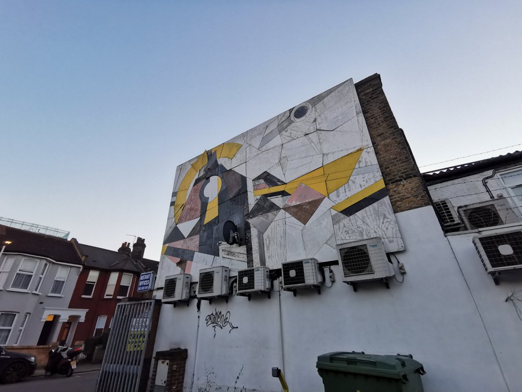 Long standing street art by Mark McClure in Walthamstow