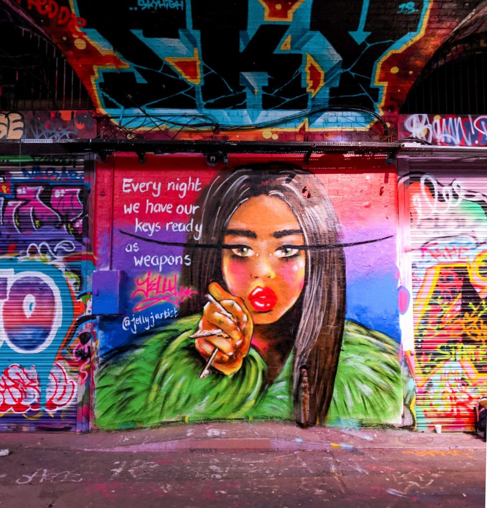 Every night we have our keys ready as weapons. Mural by Jelly artist in the Leake Street Tunnel
