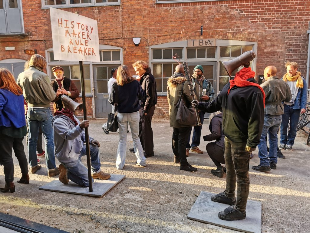 Sculptures outside of the Hoxton Gallery for Hugo Farmer's The Thirteenth Stroke exhibition