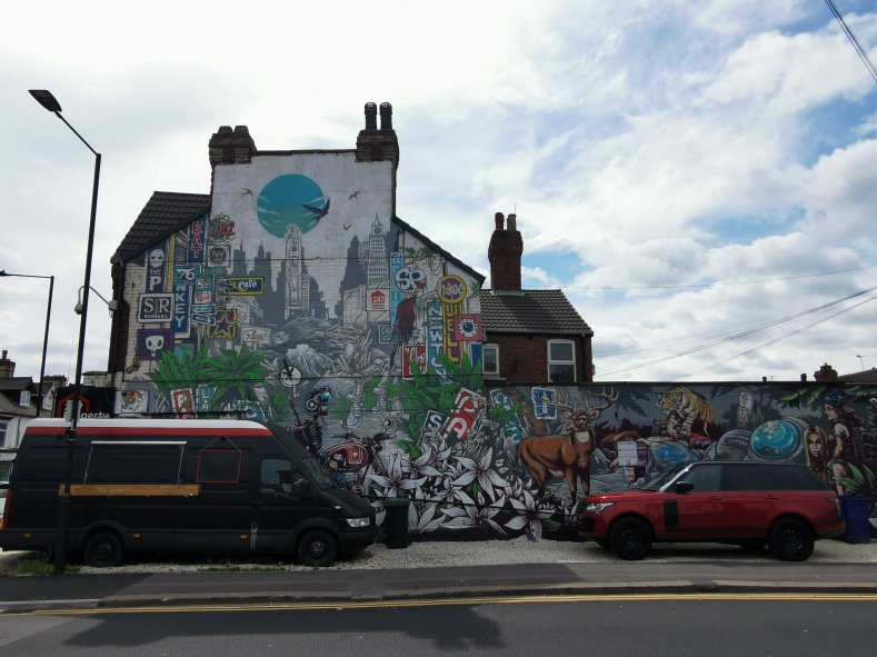 Street art mural in Doncaster, South Yorkshire by Keith Hopewell