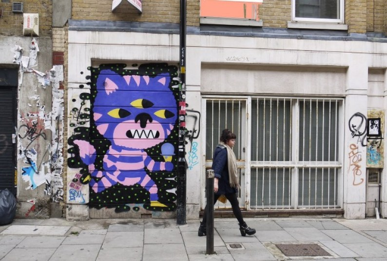 Malarko cat on Cheshire Street his exhibition Flomper is at BSMT Space